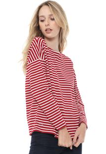 Camiseta Lacoste Listras Vermelha/Branca