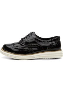 Sapato Oxford Q&A Mocassim Casual Verniz Preto Ref:300C