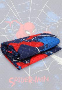 Colcha Solteiro Lepper Kids Spider Man Matelassê 1,50X2,10M Azul