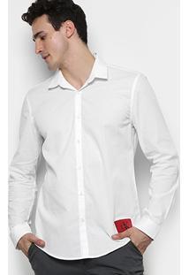 Camisa Calvin Klein Ml Básica Slim Fit Lisa Etiqueta Patch Masculina - Masculino
