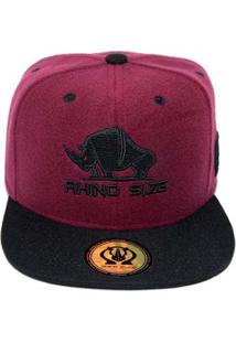Boné Rhino Size Snapback Aba Reta - Masculino-Bordô