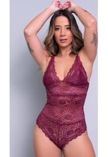 Body Feminino Serra E Mar Modas Sexy Renda Transparente Vinho