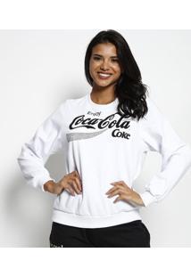"""Blusã£O """"Enjoy Coca-Colaâ®"""" Em Moletom - Branco & Preto"""