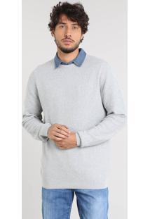 Suéter Masculino Básico Em Tricô Cinza Mescla Claro