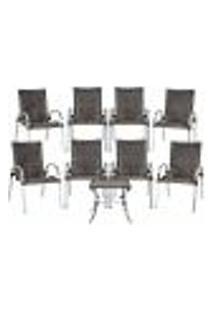 Conjunto 8 Cadeiras E Mesa De Centro Colômbia Aluminio Área Jardim Varanda Fibra Sintetica Pedra Ferro