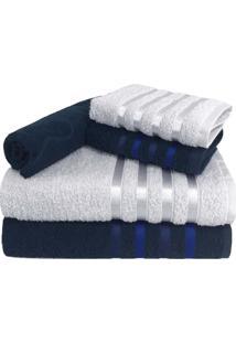 Jogo De Toalha 5 Peã§As Kit De Toalhas 2 Banho 2 Rosto 1 Piso Azul E Branca - Azul/Branco - Dafiti