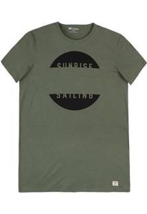 Camiseta Masculina Alongada Em Malha De Algodão Com Estampa