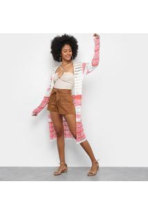 Blusa Tricot Mercatto Alongada Bicolor Feminina - Feminino-Rosa Claro