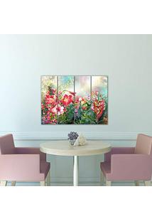 Placa Painel Decorativa Em Mdf Foto Pintura Jardim Kit 4 Placas