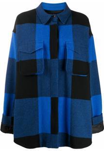 Moschino Jaqueta Xadrez - Azul