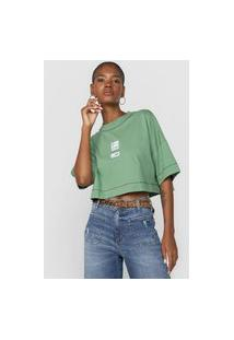 Camiseta Cropped Colcci Tag Verde