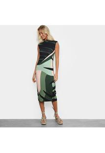 Vestido Osklen Fit Tropi - Feminino-Verde+Rosa