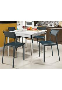 Mesas Extensível 1541 Branca Cromada Com 4 Cadeiras 1709 Azul Noturno Carraro