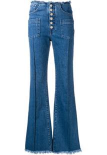 7 For All Mankind Calça Jeans Flare Com Bolsos - Azul