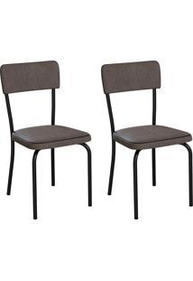 Conjunto Com 2 Cadeiras Mackay Marrom E Preto