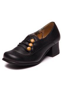Sapato Preto Retro Com Salto Medio- Floater Preto / Pequi 7617