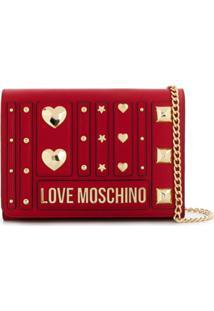 Love Moschino Clutch Com Tachas - Vermelho