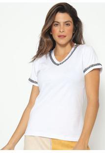 Blusa Bordada Tranã§A- Branca & Preta- Fashion 500Fashion 500