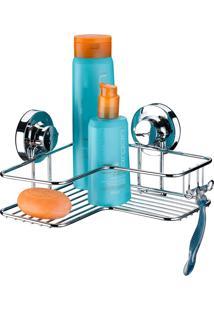 Suporte Para Shampoo Cantoneira Cromado Com Ventosas Future - Multistock