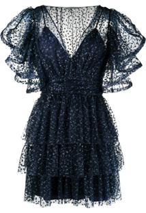 Alberta Ferretti Vestido Com Acabamento De Babados - Azul