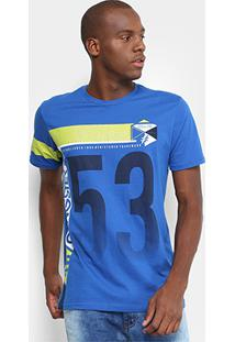 Camiseta Gangster Estampada Masculina - Masculino-Azul Royal