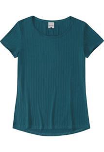 Blusa Azul Em Viscose Canelada