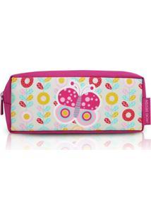 Necessaire Estojo Infantil Jacki Design De Microfibra - Feminino-Pink+Branco
