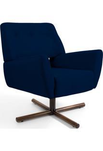 Poltrona Decorativa Giratória Base X Melli Veludo Azul Marinho B-287 - Lyam Decor