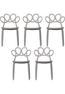 Kit 05 Cadeiras Decorativas Para Cozinha Laço Nude - Gran Belo