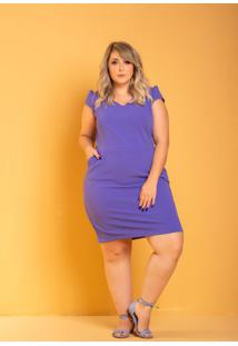 Vestido Tubinho Più Bella Azul Plus Size Domenica Solazzo