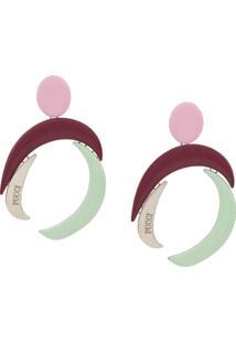 Emilio Pucci Par De Brincos Geométricos Com Logo Gravado - Rosa