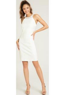 Vestido Gola Alta Off White