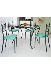 Conjunto De Mesa Tampo Vidro Lion Com 4 Cadeiras Juliana Art Panta Preto/Verde Claro