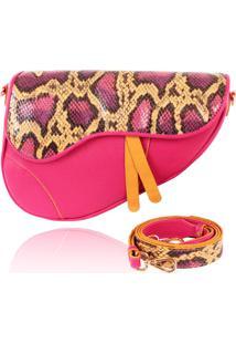 Bolsa Saddle Bag Campezzo Couro Pink