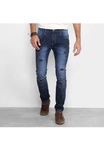 Calça Jeans Handbook Slim Estonada Livio Masculina - Masculino-Jeans