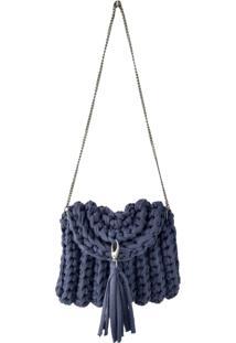 Bolsa Transversal Sapatoweb Crochê Algodão Azul