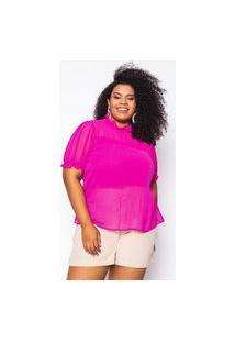 Blusa Almaria Plus Size Kayla Silves Chiffon Rosa