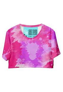 Blusa Cropped Feminina Estampa Tie Dye Casual Dia A Dia Amarelo G Rosa