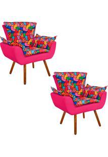 Kit 02 Poltrona Decorativa Opala Suede Composê Estampado Romero Britto D15 E Suede Rosa Barbie - D'Rossi
