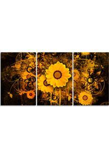 Quadro Decorativo Flor Efeito Tinta Dourado Sala Quarto Casa - Amarelo - Dafiti