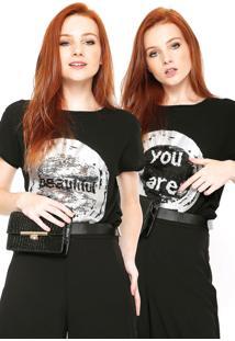 Camiseta Desigual Paetês Preta