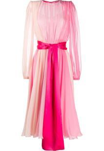 Dolce & Gabbana Vestido De Chiffon Com Sobreposição - Rosa