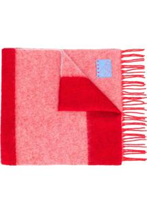 Kenzo Cachecol De Lã Com Listras - Vermelho