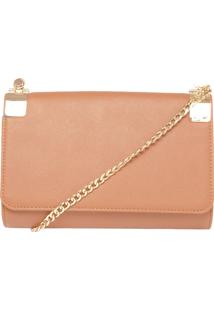 Clutch Dafiti Accessories Ferragem Caramelo