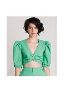Blusa Feminina Mindset Cropped Com Linho E Nó Manga Bufante Decote V Verde