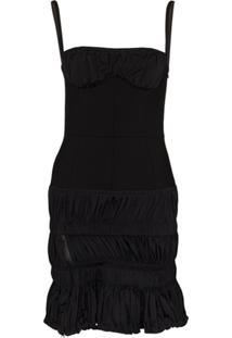 Mugler Vestido Franzido De Lã Com Stretch - Preto