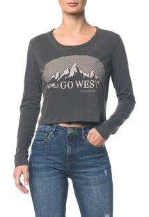 Blusa Ckj Fem Ml Cropped Go West Preto Blusa Ckj Fem Ml Cropped Go West - Preto - Pp