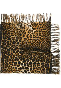 Saint Laurent Cachecol De Lã Com Estampa Leopardo - Marrom