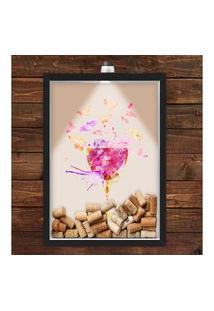 Quadro Caixa Porta Rolha De Vinho 33X43 Cm (Com Led) Lojaria E Nerderia. Vinho Colorido Preto