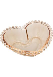 Saladeira Cristal Coração Pearl Âmbar 21X18X6Cm